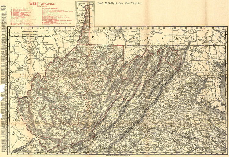 Historic Railroad Map of West Virginia - 1898