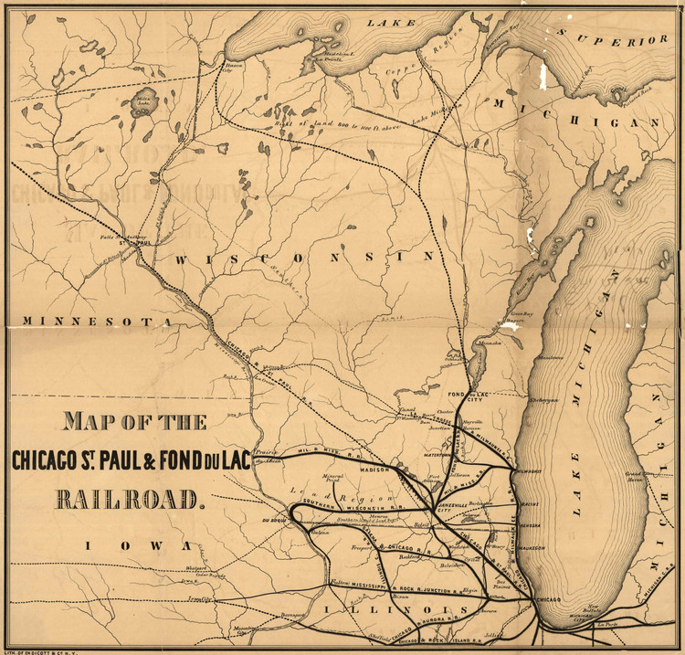 Historic Railroad Map of Wisconsin - 1855