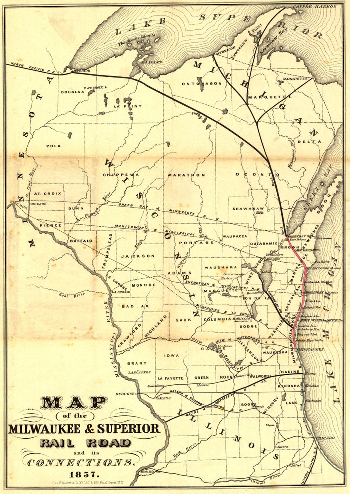 Historic Railroad Map of Wisconsin - 1857