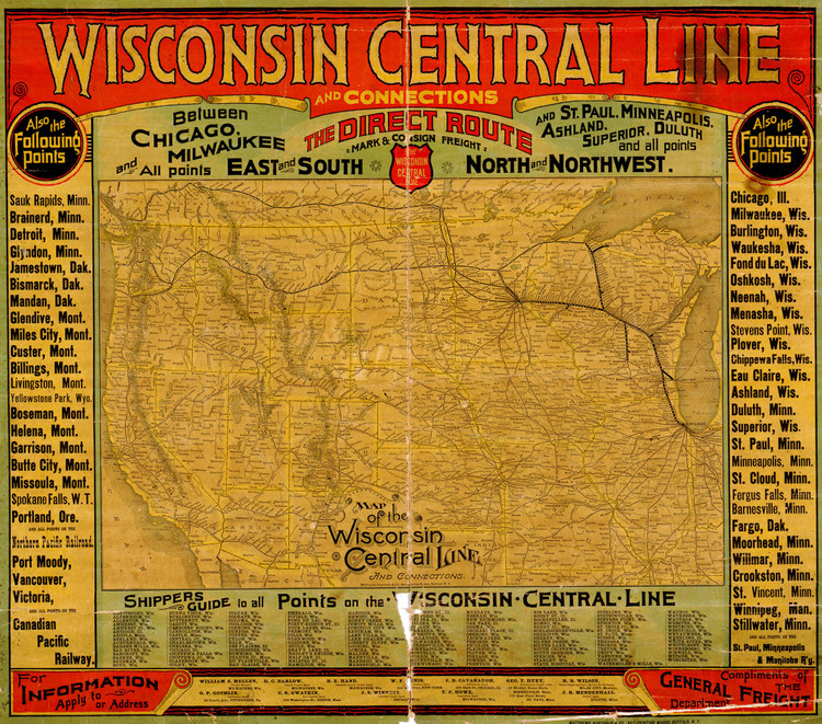 Historic Railroad Map of Wisconsin - 1880