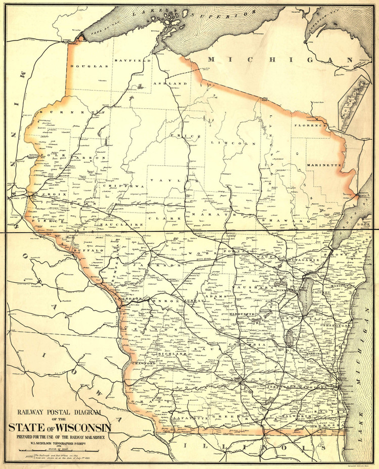 Historic Railroad Map of Wisconsin - 1882