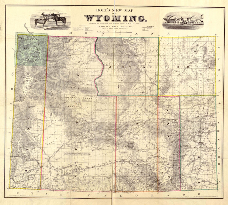 Historic Railroad Map of Wyoming - 1883