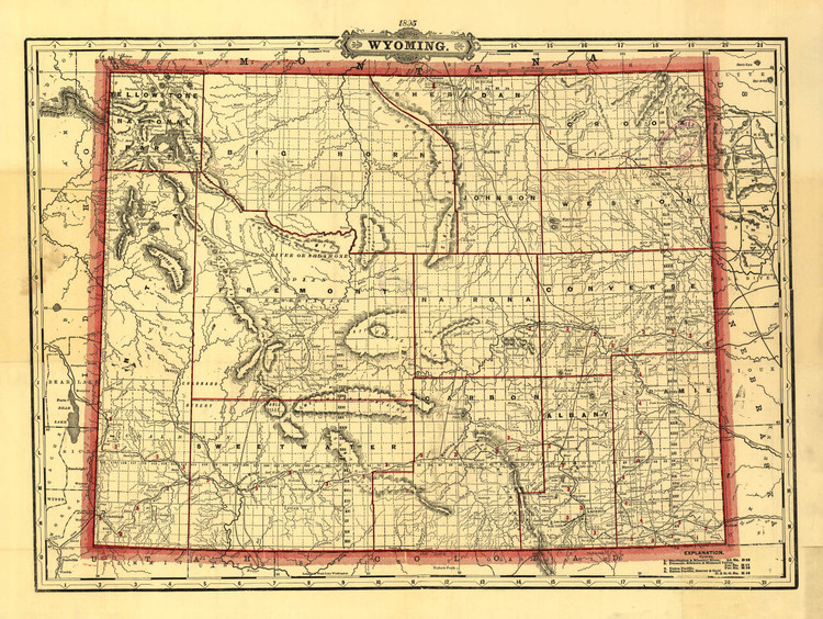 Historic Railroad Map of Wyoming - 1895