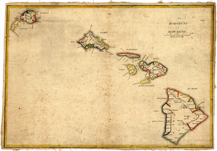 Historic Map - Hawaii State Map - 1837