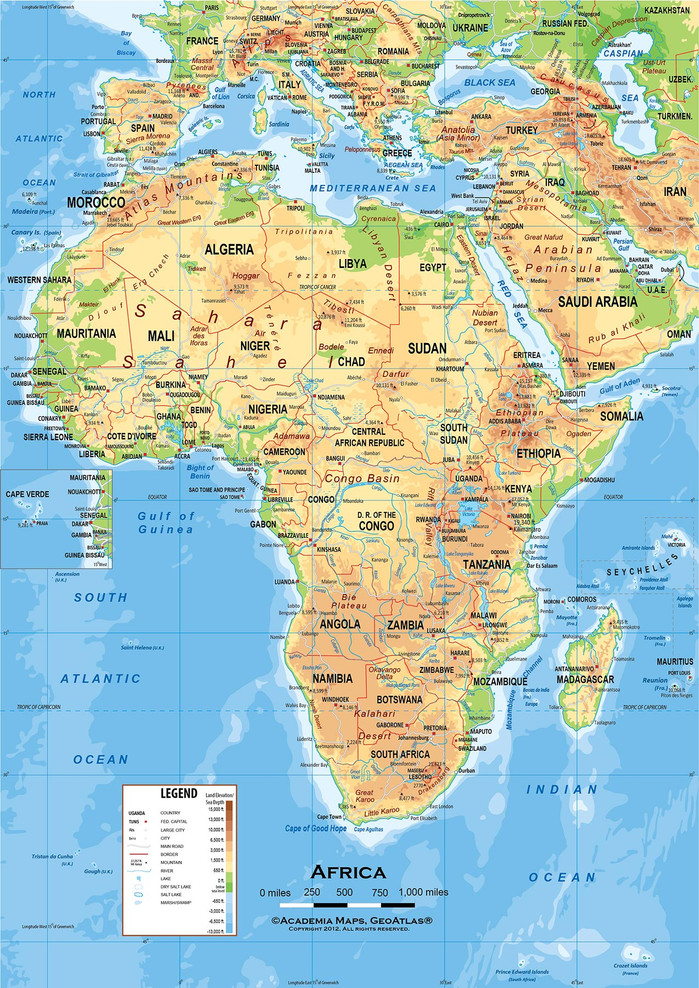 """Africa Physical Classroom Map Wall Mural - up to 84"""" x 118"""""""
