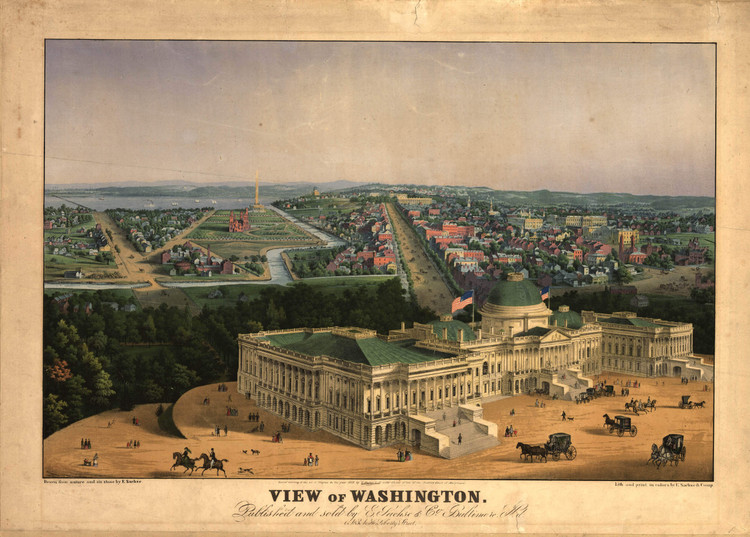 Historic Map - Washington, DC - 1852