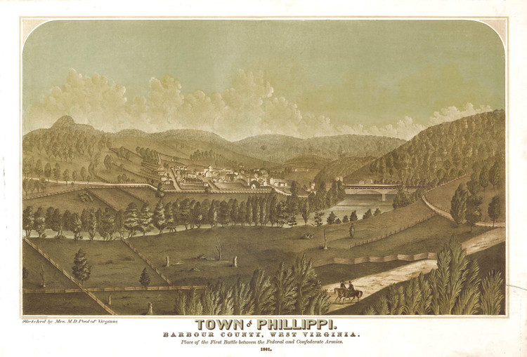 Historic Map - Philippi, WV - 1861