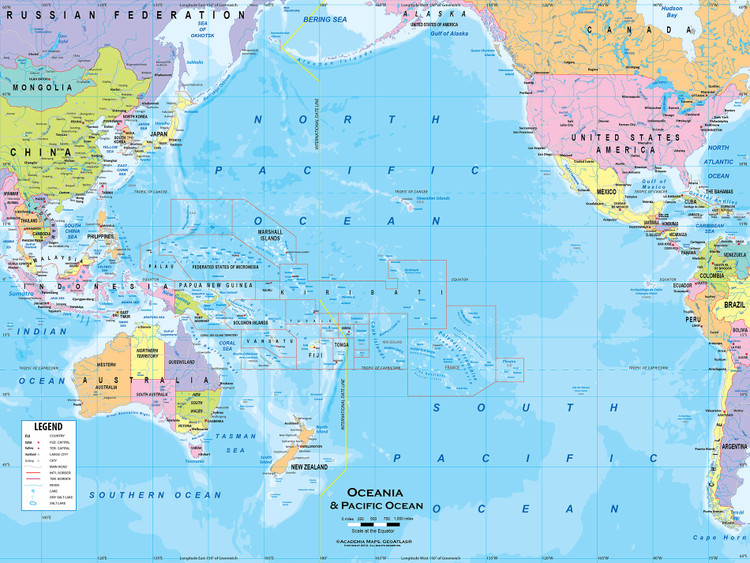 """Australia & Oceania Political Map Wall Mural - up to 166"""" x 124"""""""