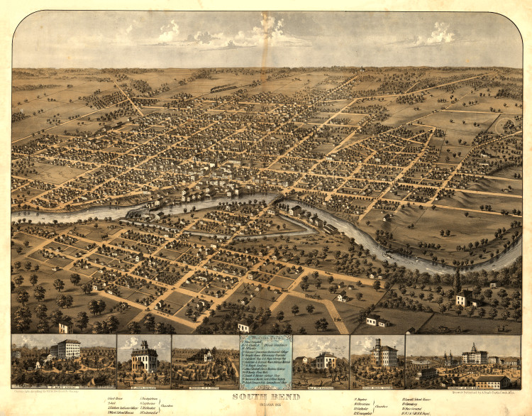 Historic Map - South Bend, IN - 1866