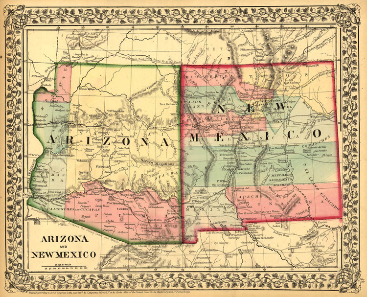Historic Map - Arizona & New Mexico - 1867