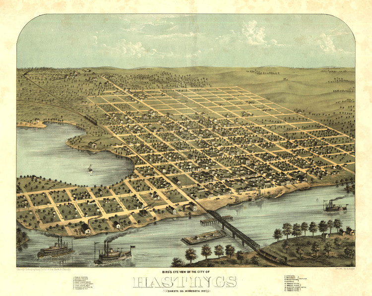 Historic Map - Hastings, MN - 1867