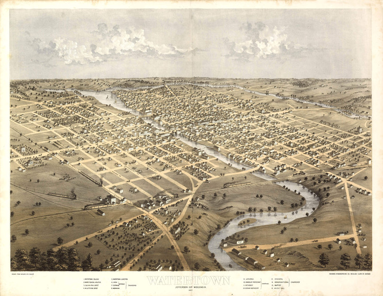 Historic Map - Watertown, WI - 1867