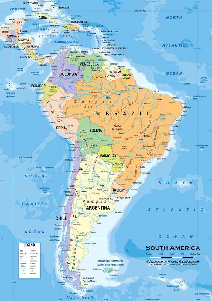 "South America Political Classroom Map Wall Mural - up to 84"" x 118"""