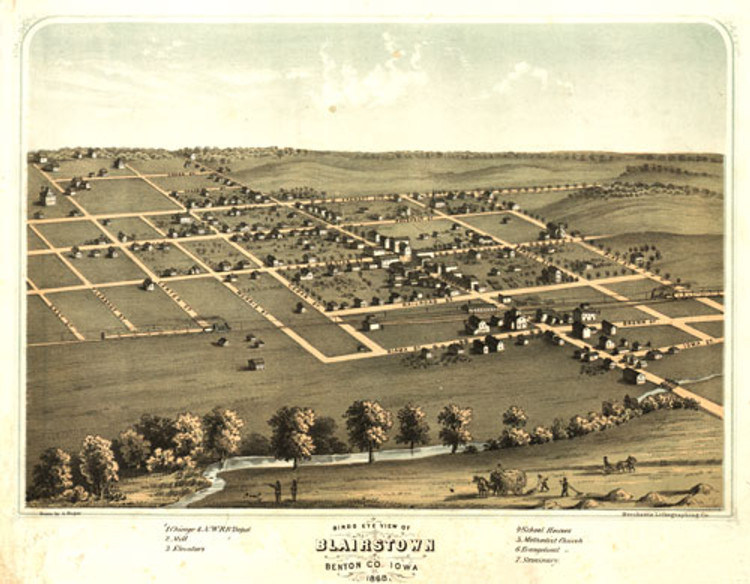 Historic Map - Blairstown, IA - 1868
