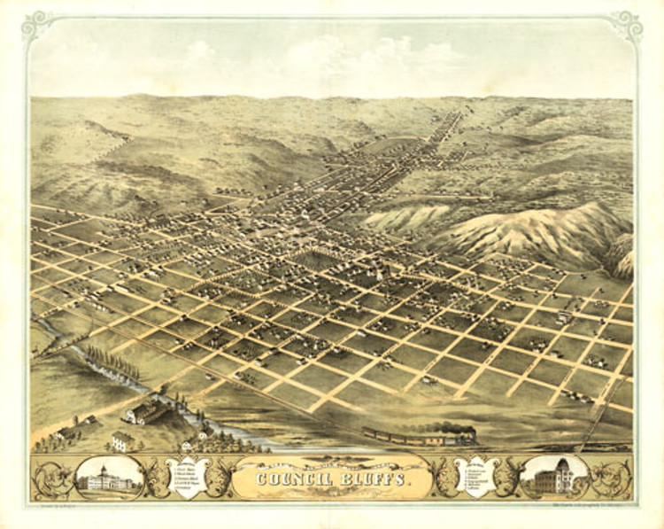 Historic Map - Council Bluffs, IA - 1868