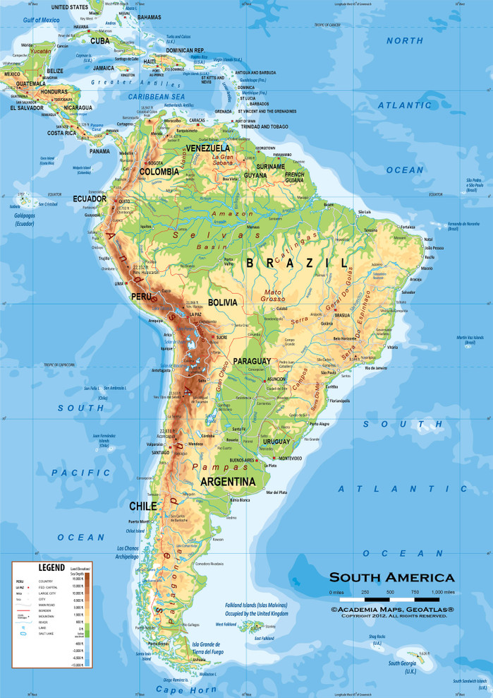 """South America Physical Classroom Map Wall Mural - up to 84"""" x 118"""""""