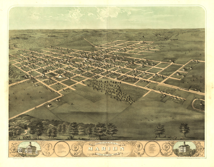 Historic Map - Marion, IA - 1868