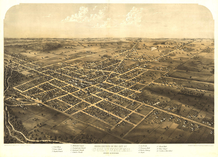 Historic Map - Coldwater, MI - 1868