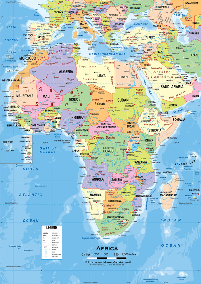 """Africa Political Classroom Map Wall Mural - up to 84"""" x 118"""""""