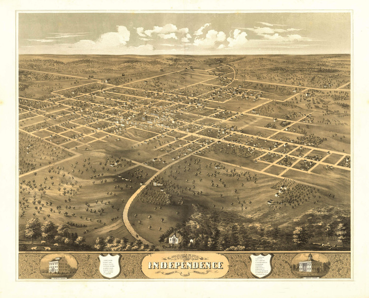 Historic Map - Independence, MO - 1868