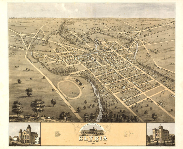 Historic Map - Elyria, OH - 1868