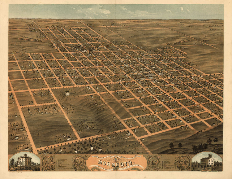 Historic Map - Monmouth, IL - 1869
