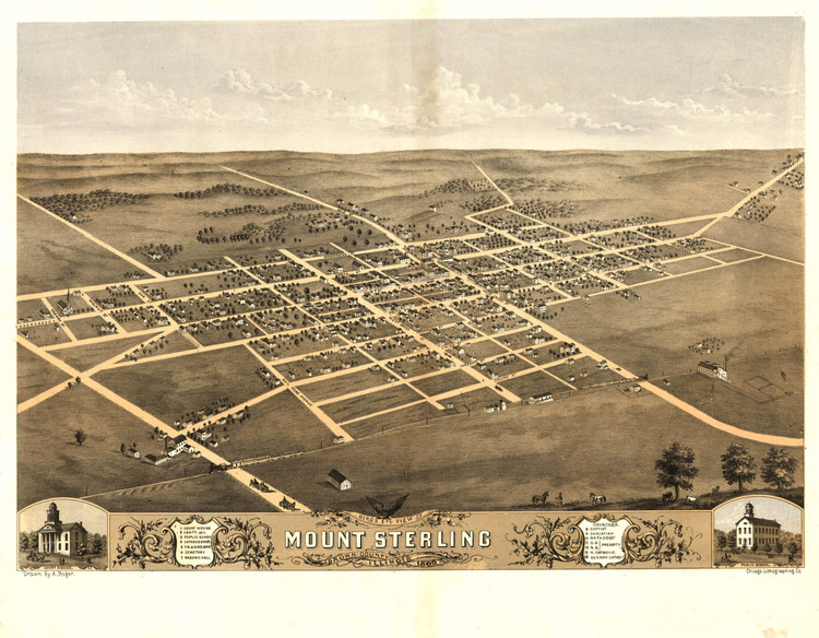 Historic Map - Mount Sterling, IL - 1869
