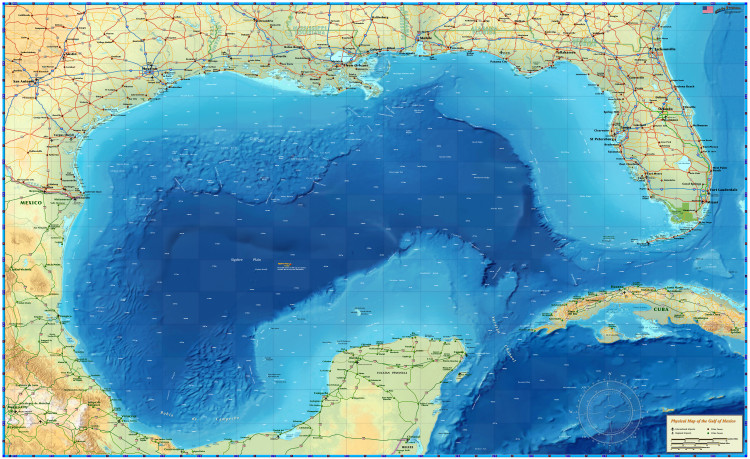 Gulf of Mexico Wall Map from Compart
