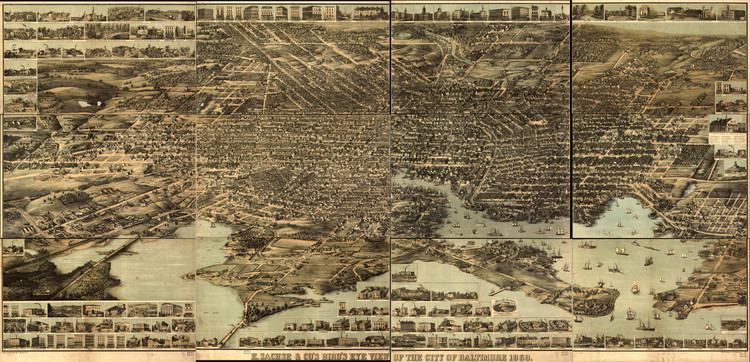 Historic Map - Baltimore, MD - 1869