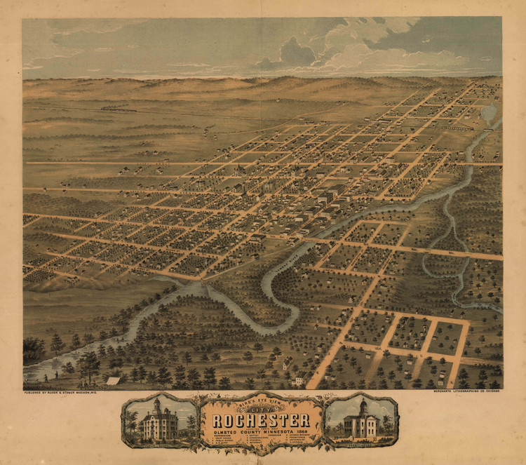 Historic Map - Rochester, MN - 1869