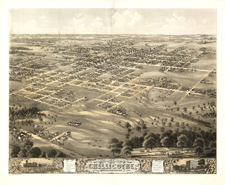 Historic Map - Chillicothe, MO - 1869