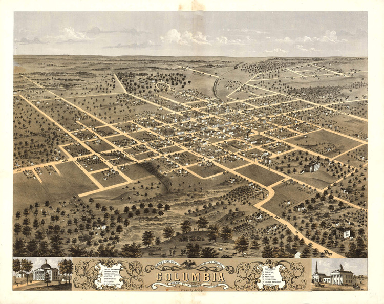Historic Map - Columbia, MO - 1869
