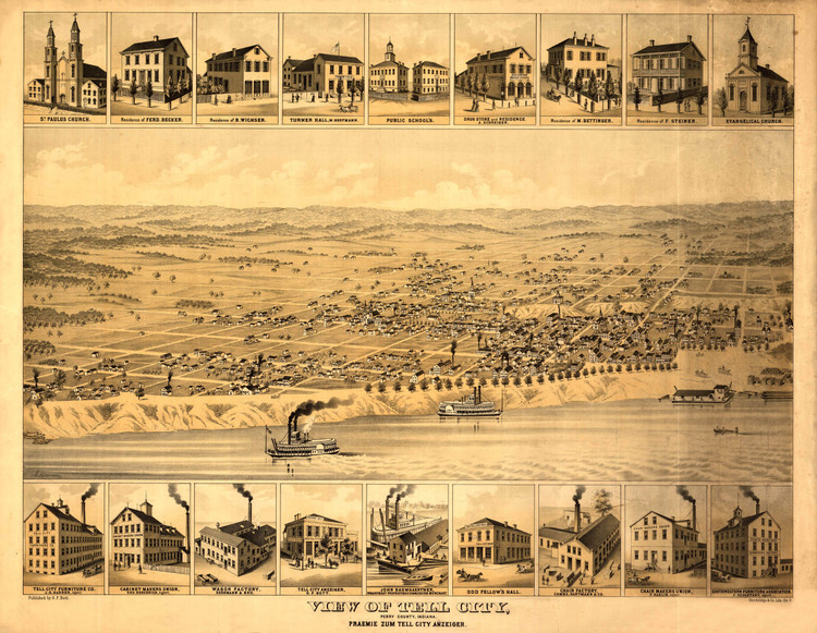 Historic Map - Tell City, IN - 1870