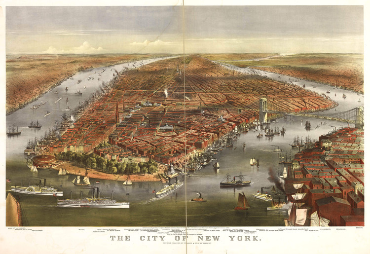 Historic Map - New York City, NY - 1870