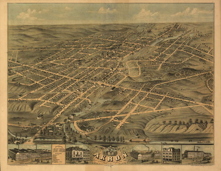 Historic Map - Akron, OH - 1870