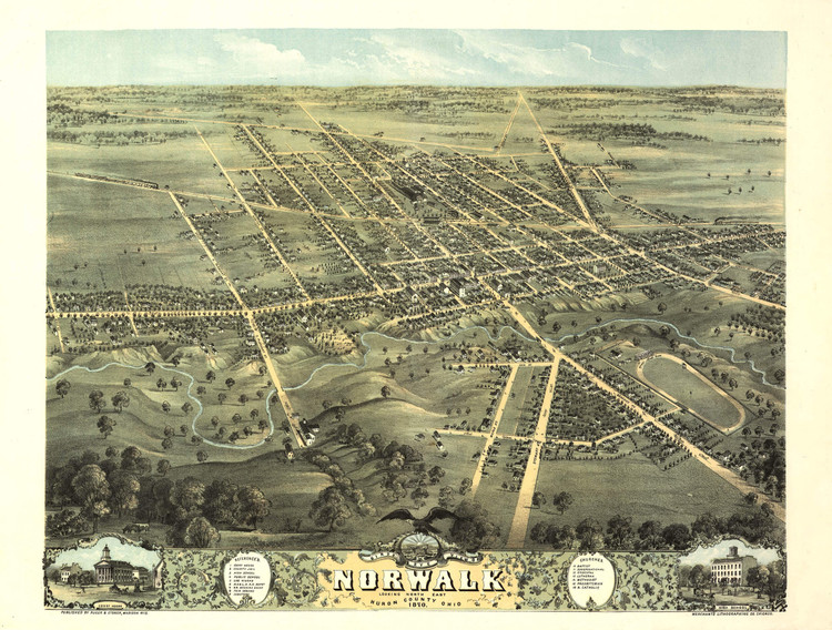 Historic Map - Norwalk, OH - 1870