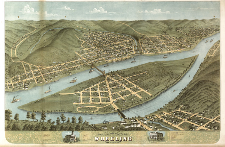 Historic Map - Wheeling, WV - 1870