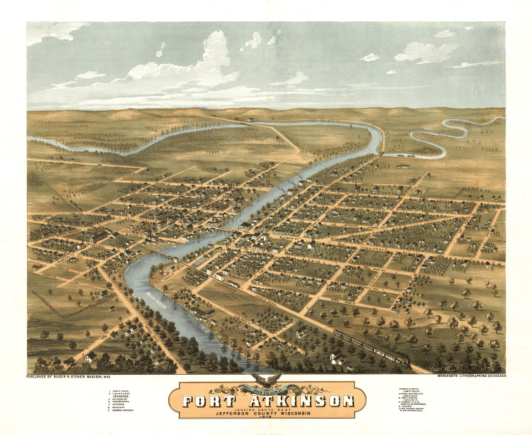 Historic Map - Fort Atkinson, WI - 1870