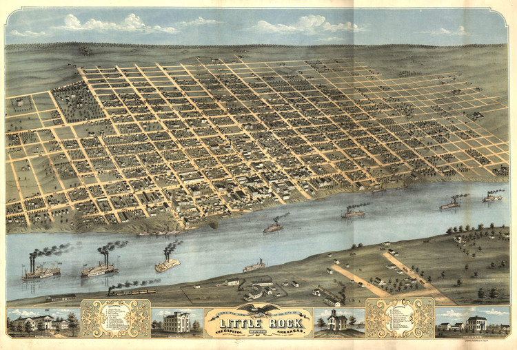 Historic Map - Little Rock, AR - 1871