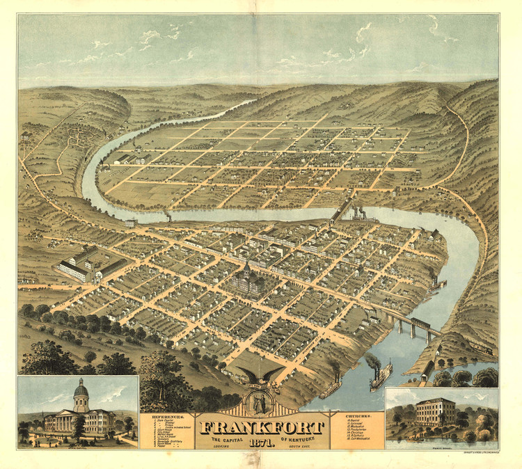 Historic Map - Frankfort, KY - 1871