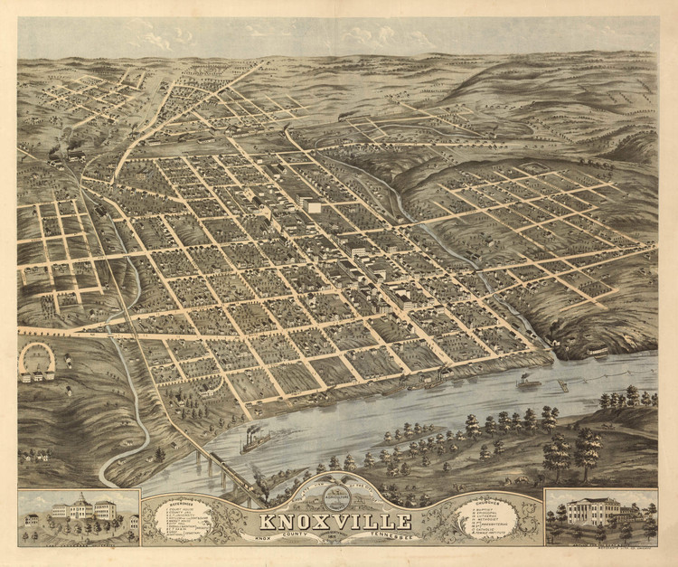 Historic Map - Knoxville, TN - 1871