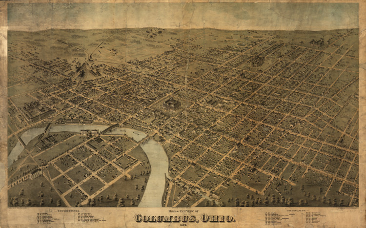 Historic Map - Columbus, OH - 1872