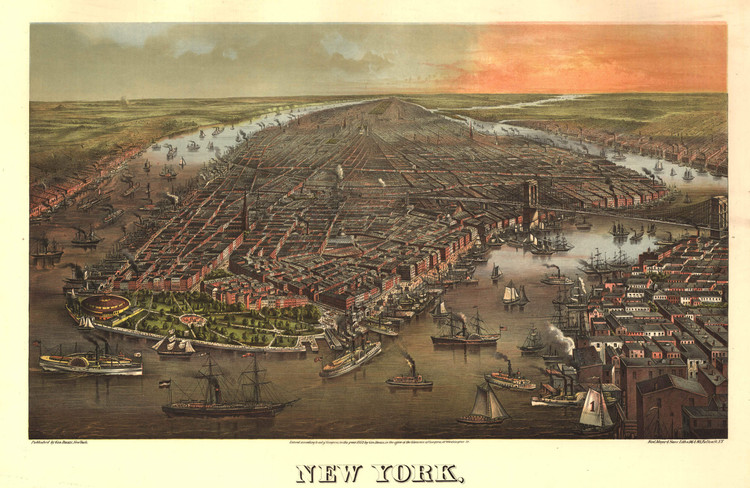 Historic Map - New York City, NY - 1873