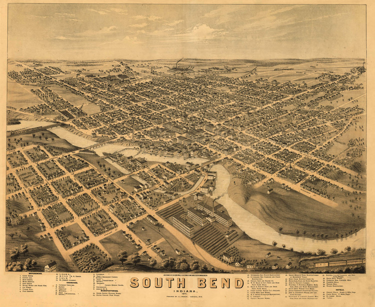 Historic Map - South Bend, IN - 1874