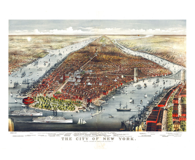 Historic Map - New York City, NY - 1876