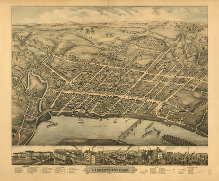 Historic Map - Middletown, CT - 1877
