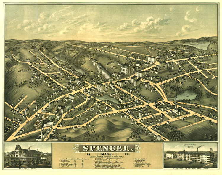 Historic Map - Spencer, MA - 1877