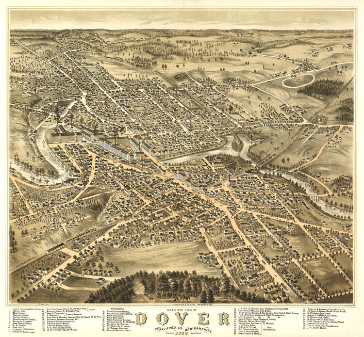 Historic Map - Dover, NH - 1877