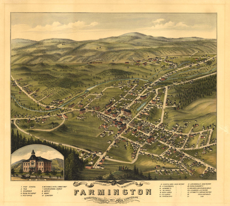 Historic Map - Farmington, NH - 1877