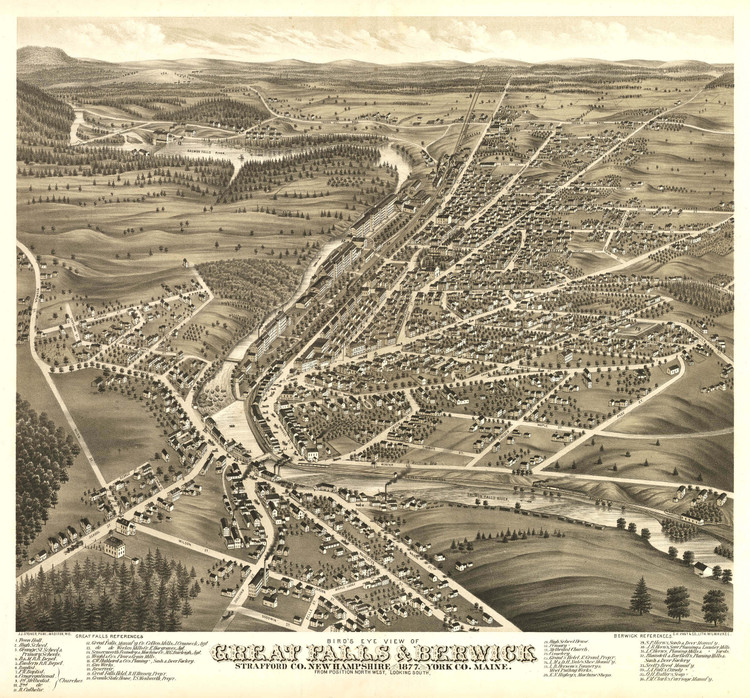 Historic Map - Great Falls (Somersworth), NH - 1877